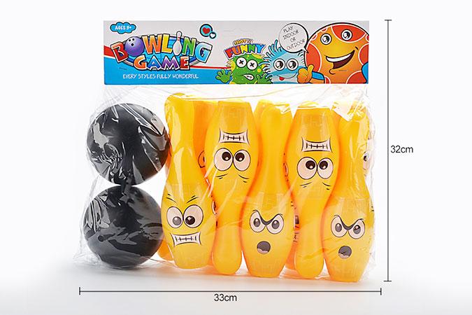 Bowling toy 22cm yellow smiley bowling 10 bottles 2 ballsNo.TA255933