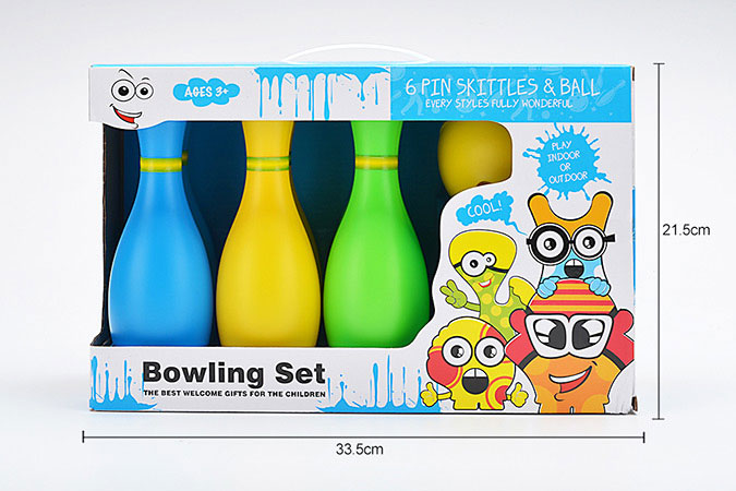Bowling toy 22cm color bowling 6 bottles 1 ballNo.TA255935
