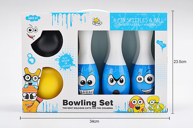 Bowling toy 22cm smiley heat shrink film bowling 6 bottles 2 ballsNo.TA255937