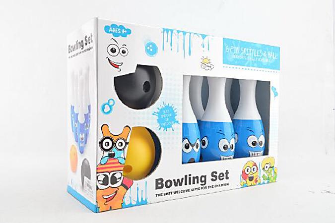 Bowling toy 25cm smiley heat shrink film bowling 6 bottles 2 ballsNo.TA255939