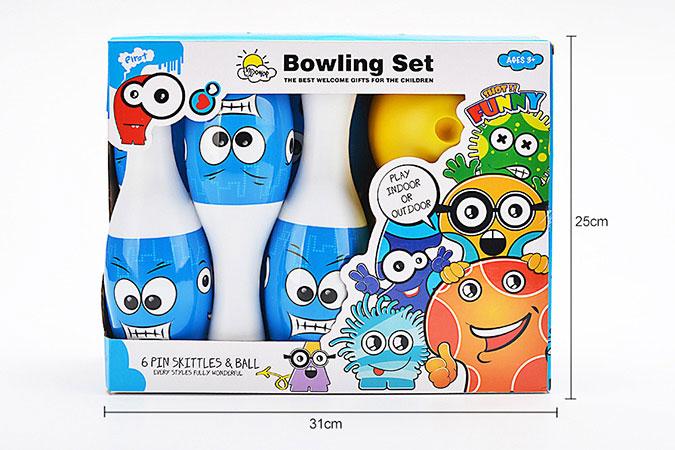 Bowling toy 25cm smiley heat shrink film bowling 6 bottles 1 ballNo.TA255940