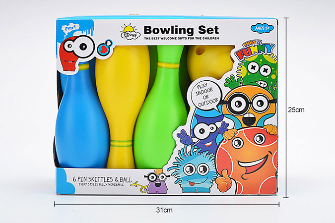 Bowling toy 25cm color bowling 6 bottles 1 ballNo.TA255941