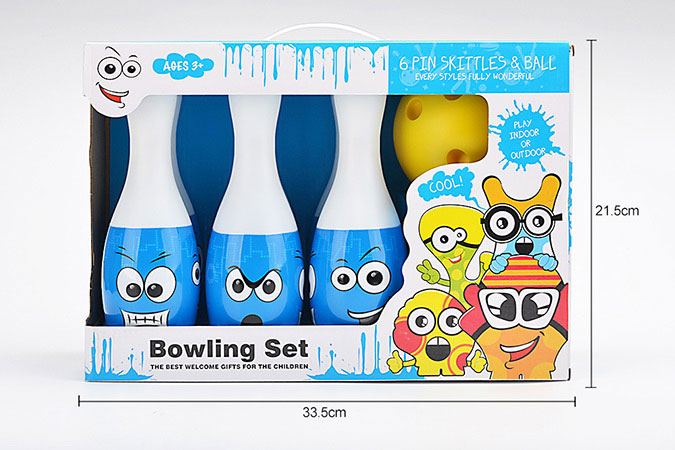 Bowling toy 25cm smiley heat shrink film bowling 6 bottles 1 ballNo.TA255942