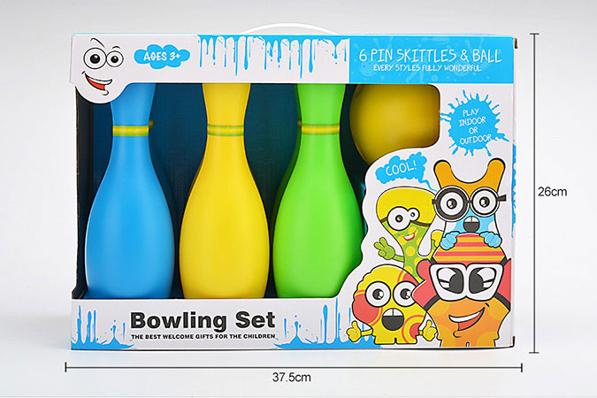 Bowling toy 25cm color bowling 6 bottles 1 ballNo.TA255943