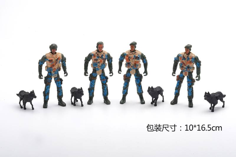 Military model toy opp bag military + dog No.TA257658