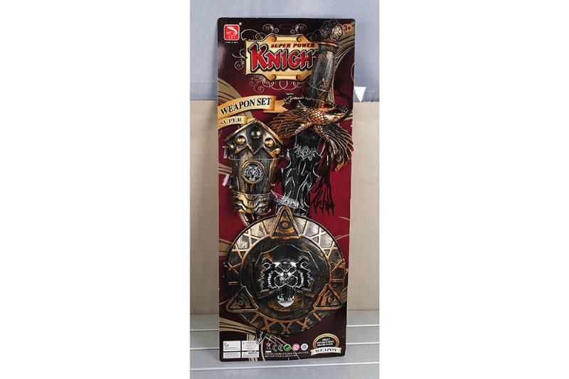 Simulation weapon toy bronze sword + guard + round shield No.TA257537