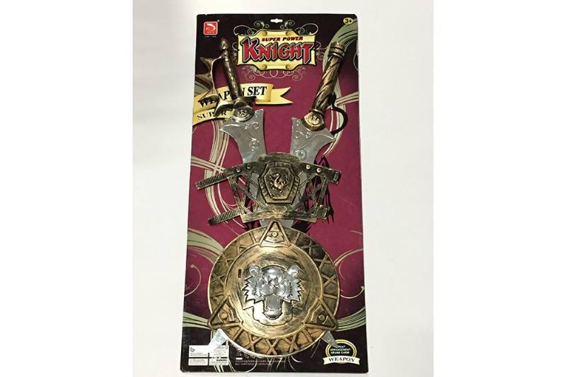 Simulation weapon toy 2 bronze sword + bronze shield + hand guard No.TA257542