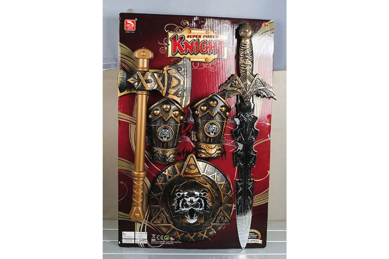 Simulation weapon toy bronze sword + axe + guard 2+ bronze shield No.TA257550
