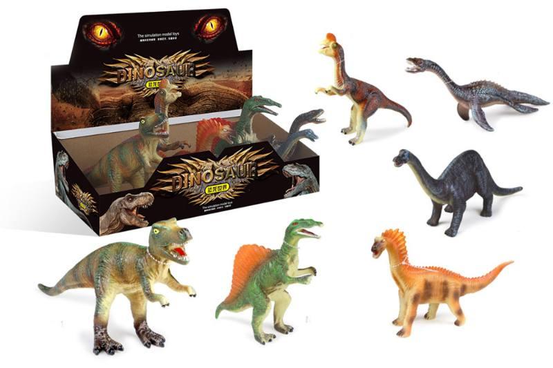 12 inch silicone simulation dinosaur 6 mixed (BB whistle) animal dinosaur toy NO.TA262723