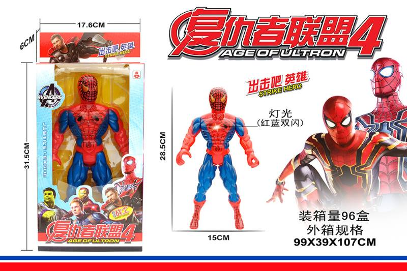 Cartoon anime toy with colorful lights red spiderman No.TA260198