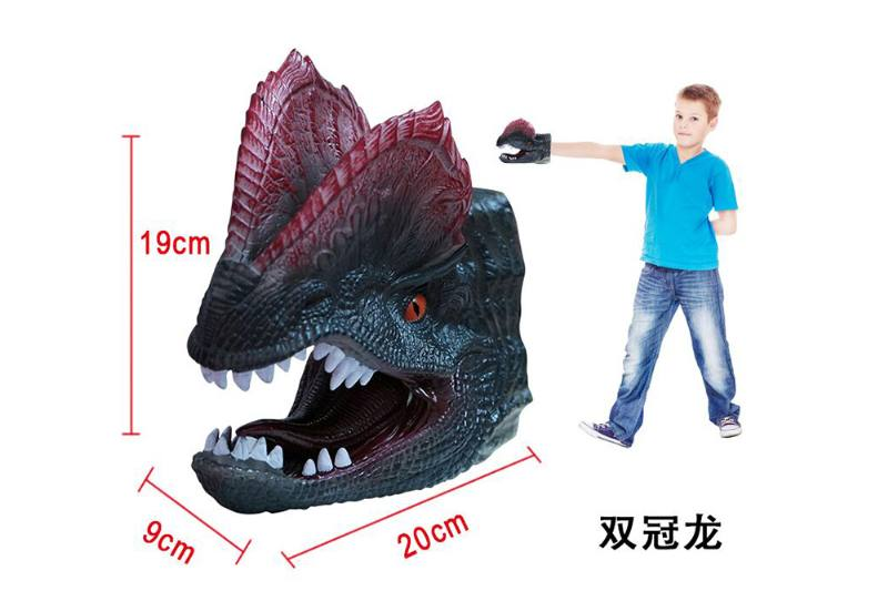 Novelty hand puppet toy Double crown dragon dinosaur hand puppet No.TA254849