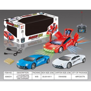 1:16 5 Channel R/C Remote Control Car with 3D Lights included Battery and Charger 6363CH