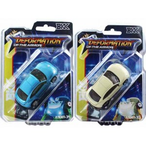Small alloy car beetle white and blue deformation toy Item No.:A9001-33/34